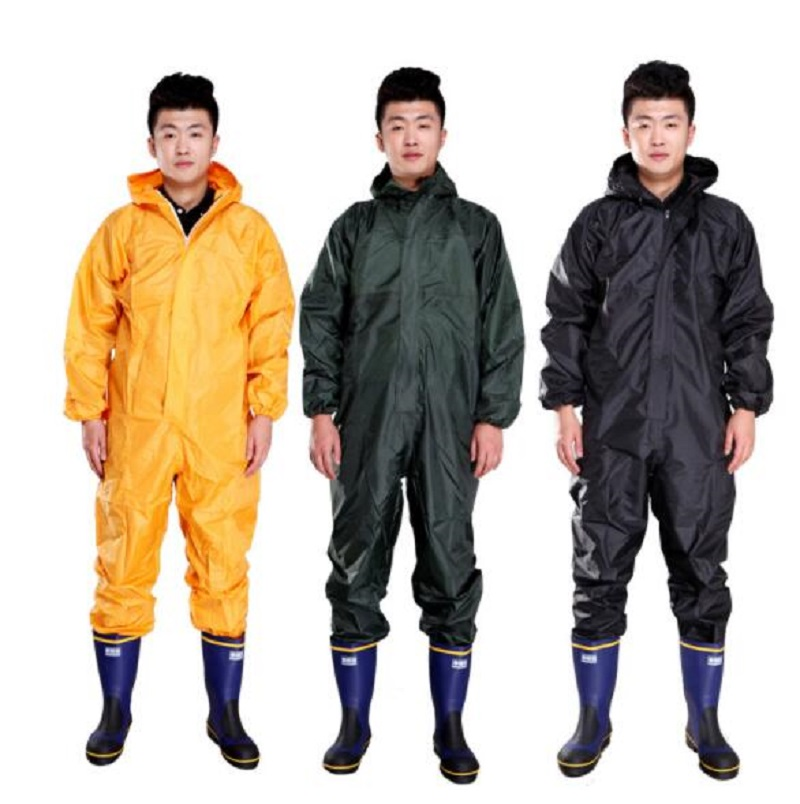 Men Waterproof Overalls Hooded Rain Coveralls Work Clothing Dust proof Paint Spray Male Raincoat Workwear Safety Suits M XXXL