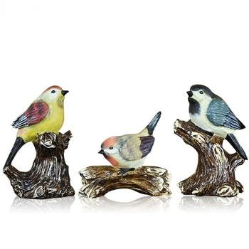 3Pcs/set American A Family Of Three Bird Figurine Animals Statue Natural Resin Craft Sculpture Home Desk Decor R1675