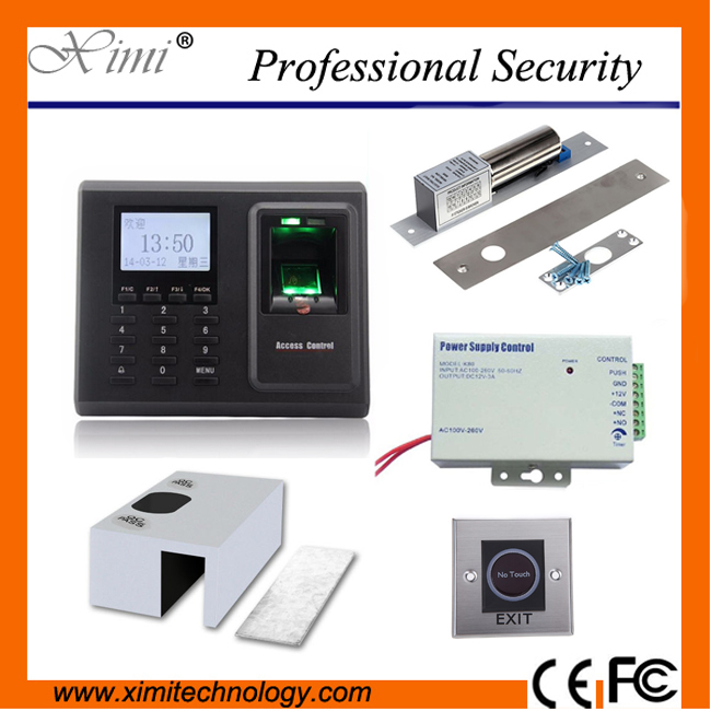 Fingerprint access control F2, 12V3A power supply, electric lock, infrared exit button,bracket access control system