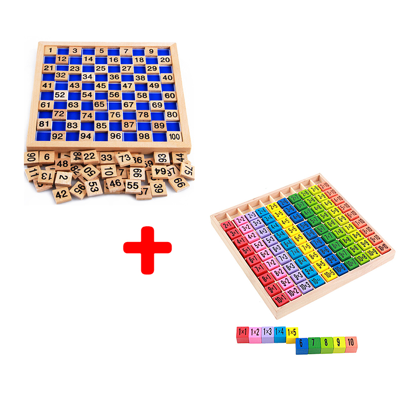 Free Shipping Montessori Mathematics Educational Wooden Teaching Toys 1-100 Digit Cognitive 10*10  Multiplication Table Children
