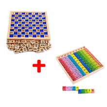 Тегін жеткізу Montessori Mathematics Education Wooden Teaching Toys 1-100 & 10 * Digit Cognitive Multiplication Table Балалар