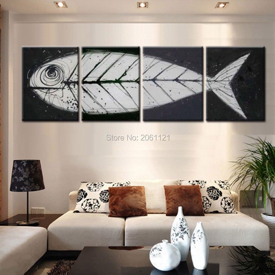Grand art mural pop art moderne gris noir poisson | Toile d'os, peinture à la main, idées d'art oringinal, ensembles de pièces décoratifs, cadeau à 4 panneaux