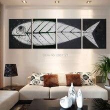 Большой серый черный поп-арт современный стены искусства Рыбы кости холст картина руки искусства идеи oringinal декоративная часть наборы 4 панель подарок