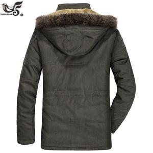 Image 3 - Chaqueta de invierno para hombre abrigo militar negro con relleno de algodón grueso cálido, abrigo parca vestuario, rompevientos, Abrigo con capucha de piel