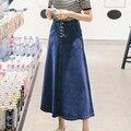 Plus size vintage faldas mujeres 2016 verano estilo coreano vestido feminina denim jeans largo maxi faldas para las mujeres de pecho A0398