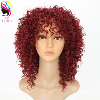 Feibin Afro Wigs for Women Kinky Curly Ombre Blonde Nature Black red Synthetic Wigs African 14inches