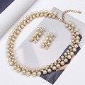 2017 Nuevo de Buena Calidad Chapado En Oro Con Incrustaciones de diamantes de Imitación de Diamante collar Corto Gargantilla Collar de Perlas Conjunto