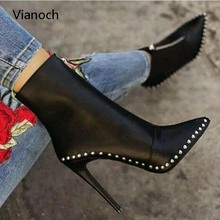 Vianoch New Fashion Womens Ankle Boots Sexy High Heels Rivets Platform Pumps Shoes Lady Size 40 41 42 wo1808103