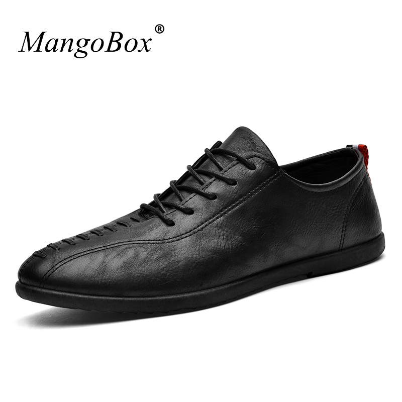 2018 New Shoes Mens Casual Fashion Light Flat Footwear Mans Lace-Up Black Shoes Men PU Leather Sneakers Male spring ultra light mens shoes men casual leather mans footwear zapatos hombre presto lace up breathable air chaussure homme 95
