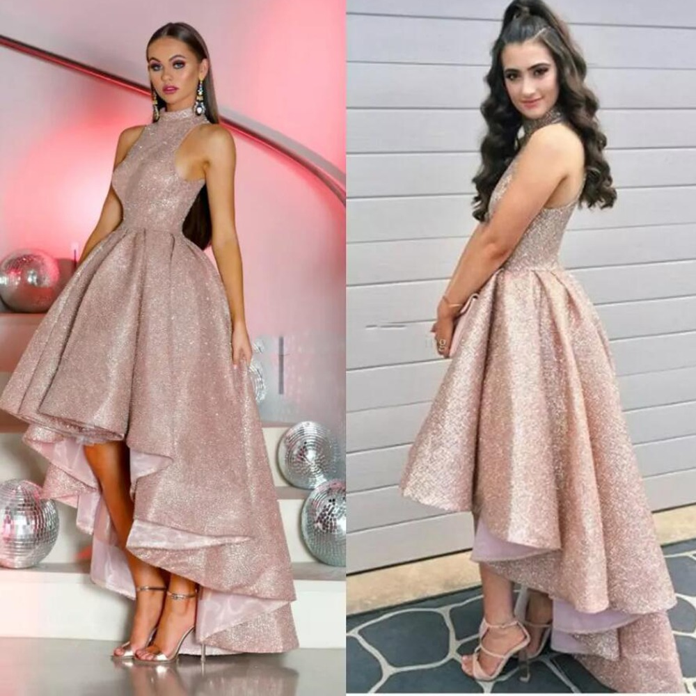 Rose Gold Sequined High Low Prom Gowns Sparkle Floor Length Long Formal Party Dresses High Collar