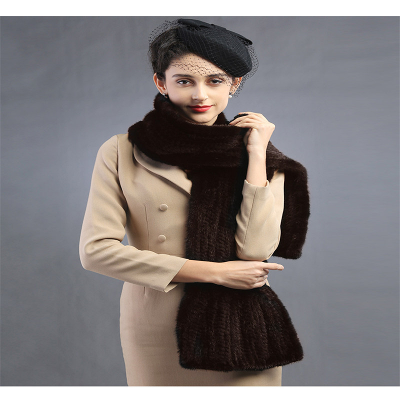 Classic mink knitting scarf More luxurious mink fur scarf Men and women with Autumn and winter to keep warm