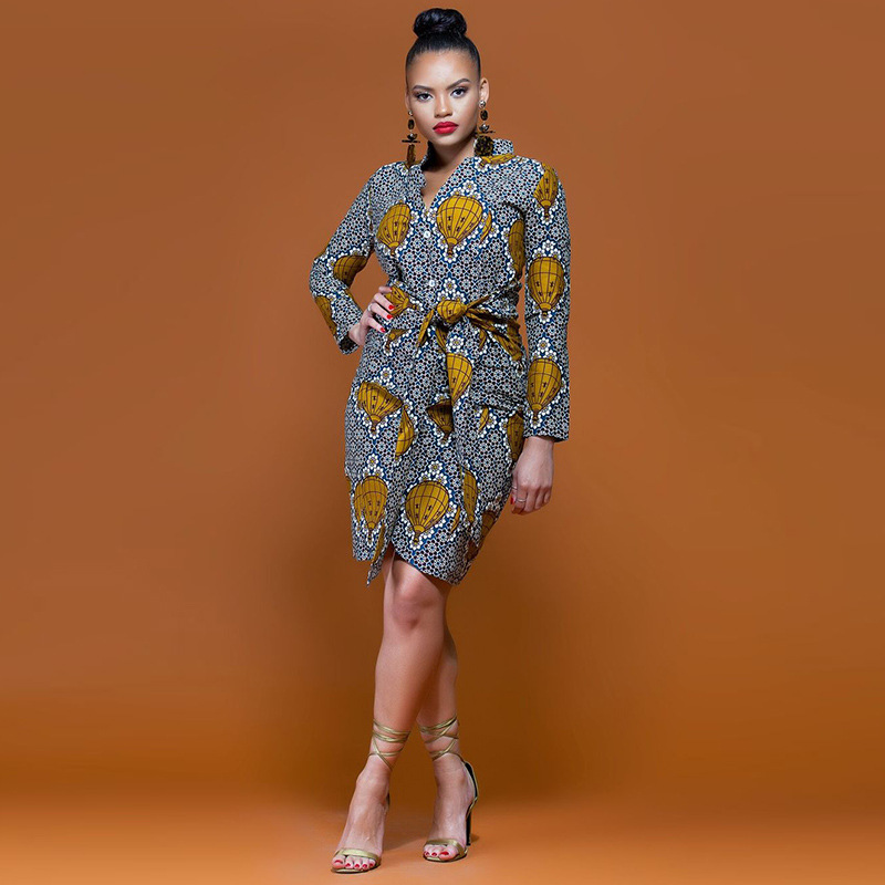 2018 Elegance Retro Shirt Dress Women Fashion African Print irregular Party Dress High Quality Long Sleeve Button Belt Vestidos
