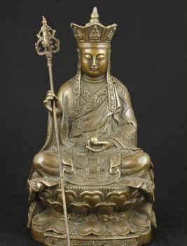 Élaborer Chinois Vieux Laiton Travail Manuel Pour Les Collectionneurs Bouddha Statue