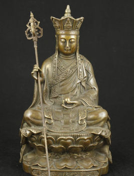 Elaborate Chinese Old Brass Collectable Handwork Buddha Statue