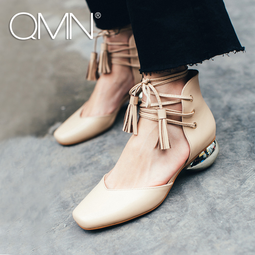 QMN genuine leather D'orsay flats Ankle Cross-tied Women Oblate Strange Flats Woman Square Toe Summer Casual Shoes With Tassel qmn women crystal embellished natural suede brogue shoes women square toe platform oxfords shoes woman genuine leather flats