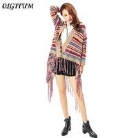 Hot Sale 2017 Folk Custom Style Loose Causal Ladies Tassel Sweater Irregular Shawl Cardigan Colorful Stripe