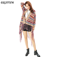 Hot Sale 2017 Folk Custom Style Loose Causal Ladies Tassel Sweater Irregular Shawl Cardigan Colorful Stripe