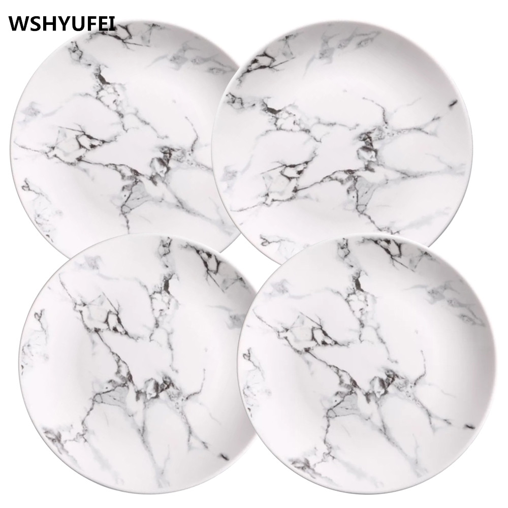 4 pcs set 6 or 8 or 10 inch Marble dinner plates ceramic tableware dinner set