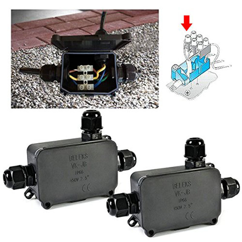 цена на 2PCS Newest Cover Waterproof Junction Outdoor Weatherproof Plastic Enclosure Cable Connect Box   ALI88