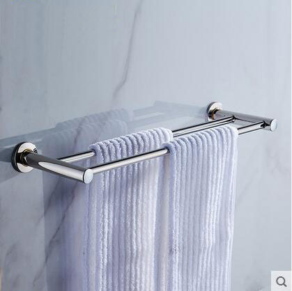 60cm Stainless Steel bathroom double towel bars Fashion wall