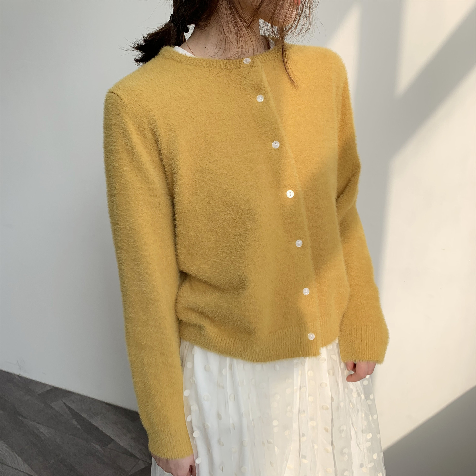 Autumn Winter New Korean Elegant Cardigan Women 2019 New Slim Yellow Sweater Long Sleeve Sweater Cardigan Warm Jumpers LT982S50(China)