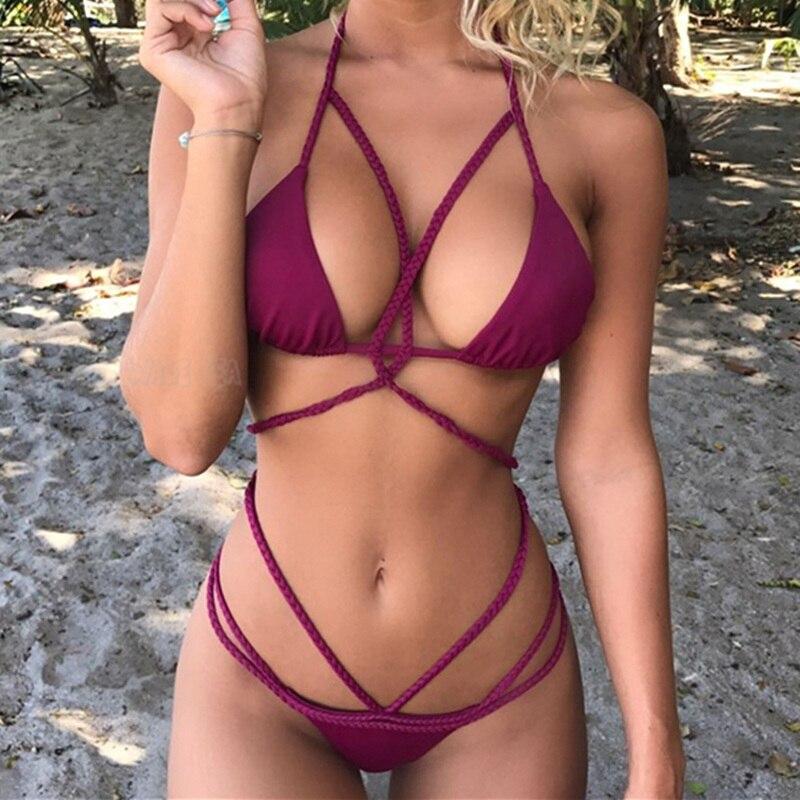 ab76c50379 2018 Bright Yellow Tankini For Vacation Party Sexy High Cut Swimsuit Women  Quality Halter Bikini Tanga Drop Shipping-in Bikinis Set from Sports ...