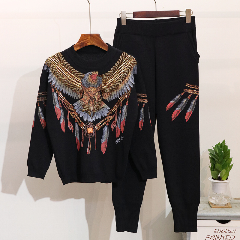Autumn New 2 Piece Set Women Eagle Embroidery Knitted Sweaters Winter Clothes Two Piece Set Tops
