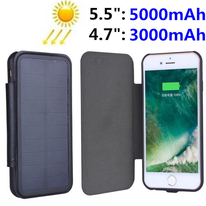 The Best 3000mah 5000mah Slim Solar Charger Case Power Bank For Iphone 6 6s 7 Plus Solar Power External Pack Phone Backup Battery Case For Sale Phone Bags & Cases
