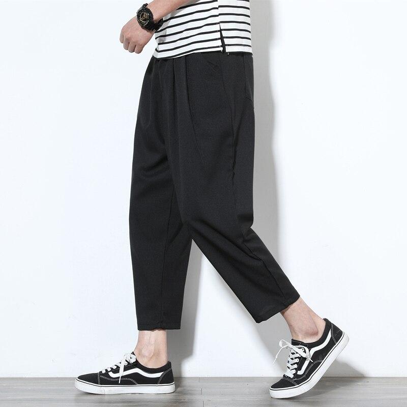 2018 Summer Hot Sale Men's Cotton Linen Breathe Fabric Loose Casual Pants Large Size Wide Leg Pants Black/grey Trousers M-5XL