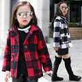 Girls Thickening Plaid Cloth Children Winter Coat Kids Clothing Cotton Warm Red White