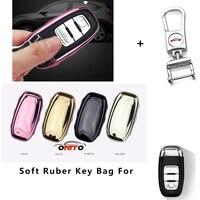Cubiertas de autos pegamento Suave caso llave a distancia llave del coche conjuntos de protección llaveros de Coches para Audi A1/A2/A3/A4/A5/A6/A7/A8/Q1/Q3/Q5