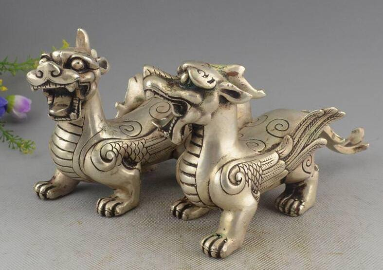 China Silver Wealth PiXiu Phylactery Guardian Beast Brave Troops Statue PairChina Silver Wealth PiXiu Phylactery Guardian Beast Brave Troops Statue Pair
