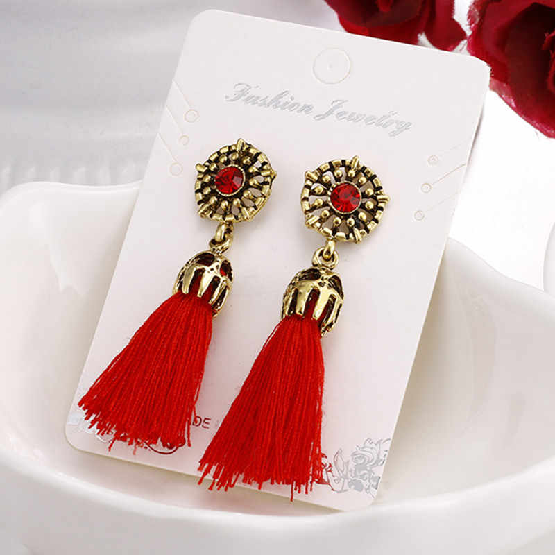 Vintage Crystal Earring Exquisite Handmade Tassel Earring For Women Fashion Red Gray Black Wedding Party Jewelry Wholesale e0187