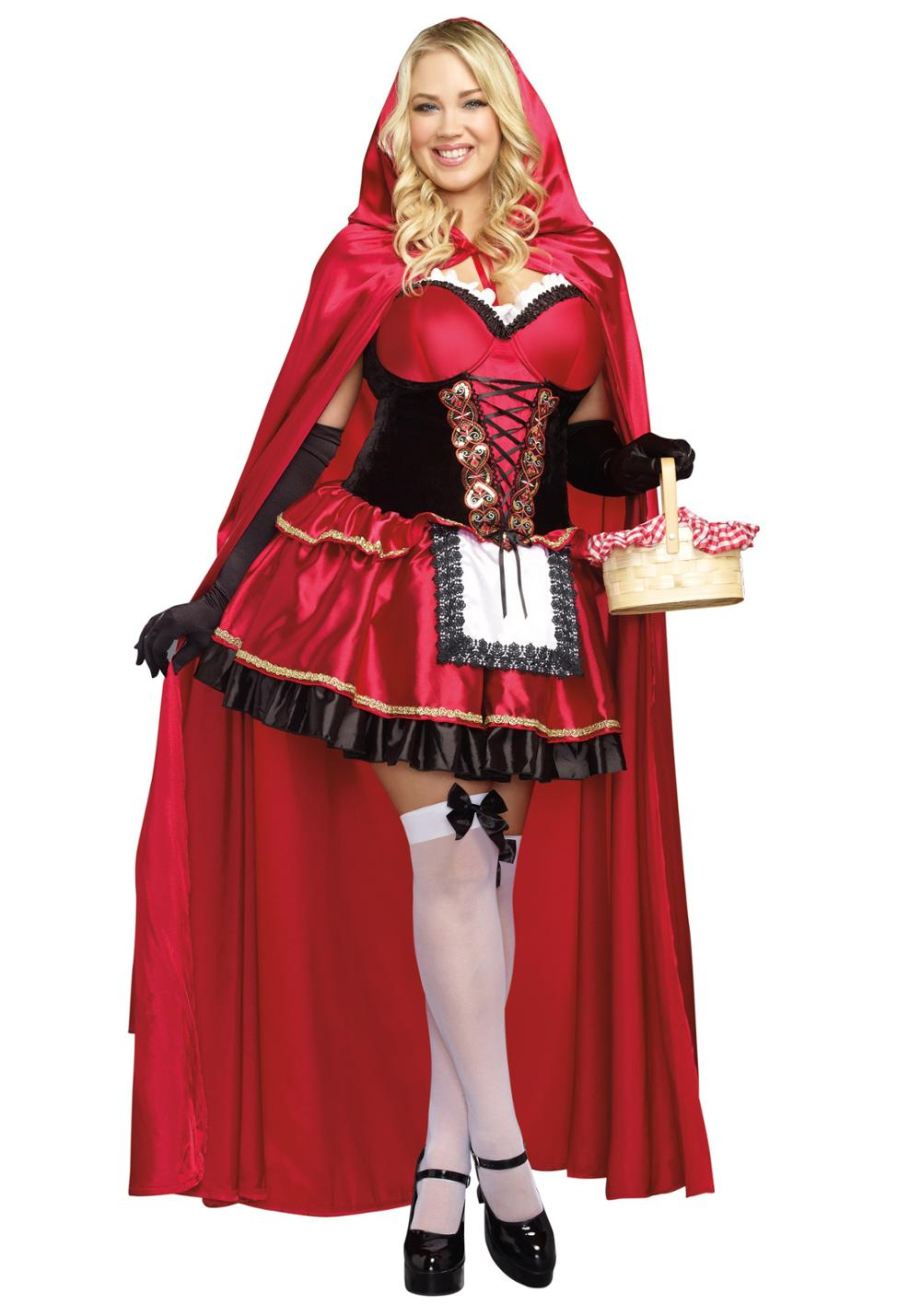 Adult Deluex Fairytale Red Riding Hood Costume Women Halloween Cosplay Fancy Dress with Long Capes