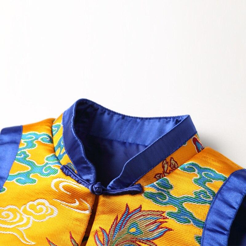 Manteau Main Phoenix Hiver Jaune Femelle À Cheongsam Gilet Élégant Veste Qipao Manches La Dragon Femmes Automne Nouvelle Bouton Chinois Sans Blouse R543ALjcq