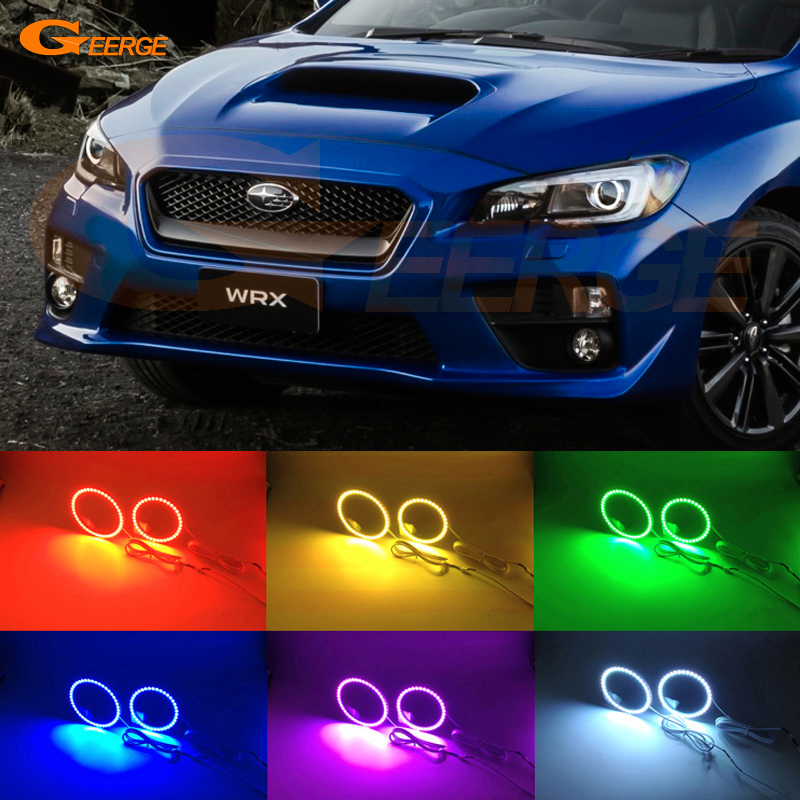 For Subaru Impreza WRX sti 2015 2016 2017 Excellent Multi-Color Ultra bright RGB LED Angel Eyes Halo Ring kit epman intercooler y pipe hose kit for subaru wrx sti gdb ggb 2 0 00 07 ver 7 9 3pcs ep sbt007