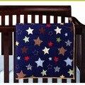 6 Шт. Детские постельные принадлежности Синий звезды 3D Вышивка 100% хлопок Детские кроватки постельных принадлежностей включают Одеяло Бампер Чехол для Матраса