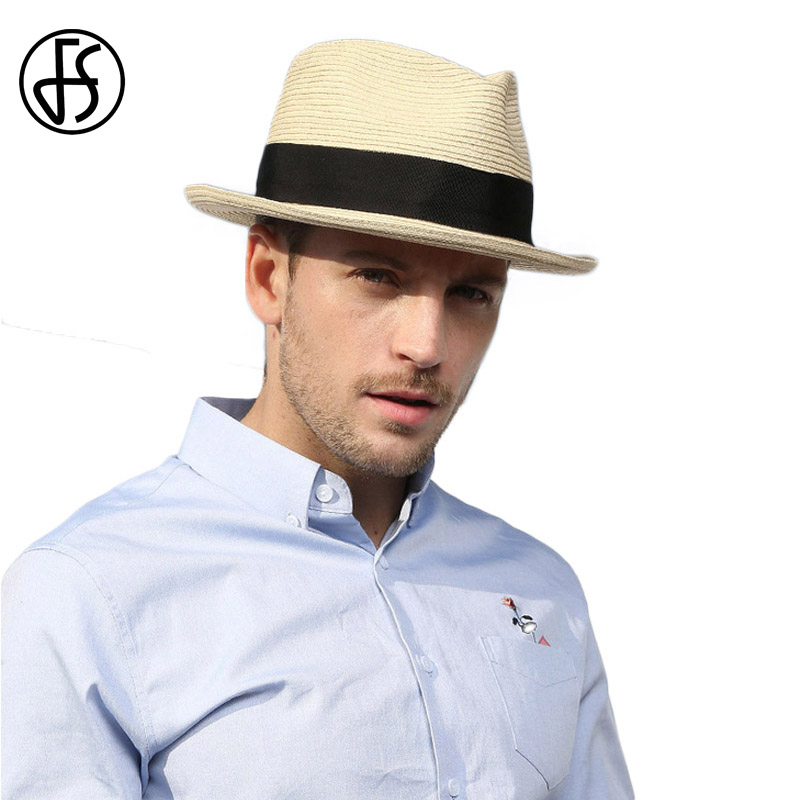 FS Summer Beach Panama Hat Men Straw Wide Brim Sun Hats For Mens Casual  Trilby Gangster Fedora Male Jazz Sombrero Chapeau Femme-in Sun Hats from  Apparel ... 5971a5d0d4ca