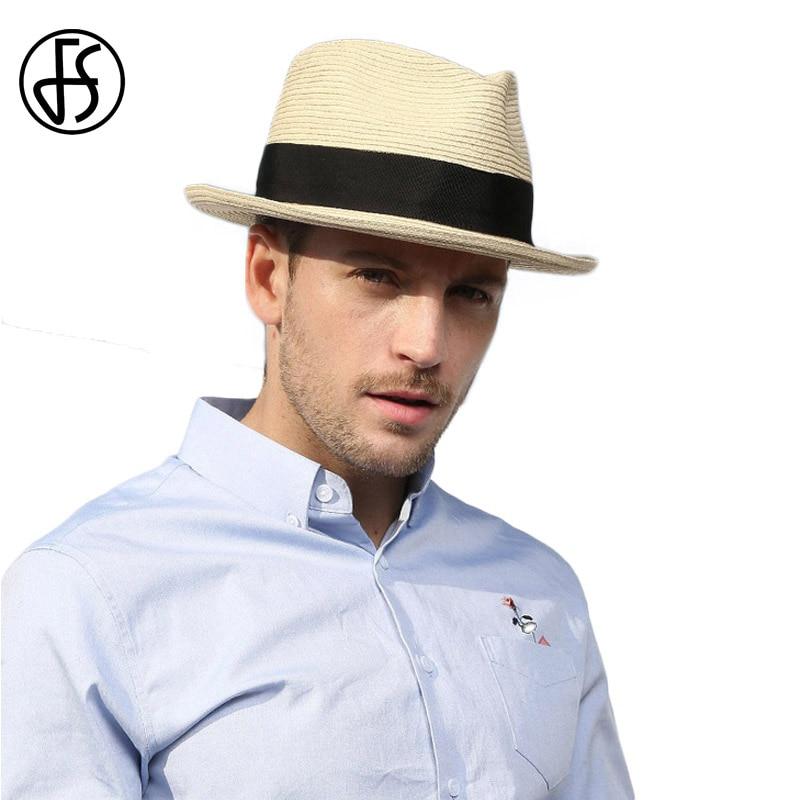 fe2ec93d262 FS Summer Beach Panama Hat Men Straw Wide Brim Sun Hats For Mens Casual  Trilby Gangster Fedora Male Jazz Sombrero Chapeau Femme-in Sun Hats from  Apparel ...