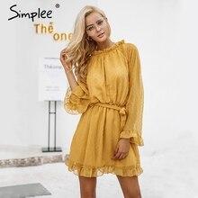 Simplee Lace up backless mesh dress women Elegant stringy selvedge sash mini dress Fashion long flare sleeve dresses vestidos