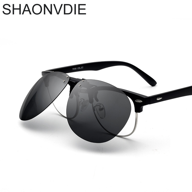 SHAONVDIE Myopia Clip on Sunglasses Rimless Clip Glasses Polarized ...