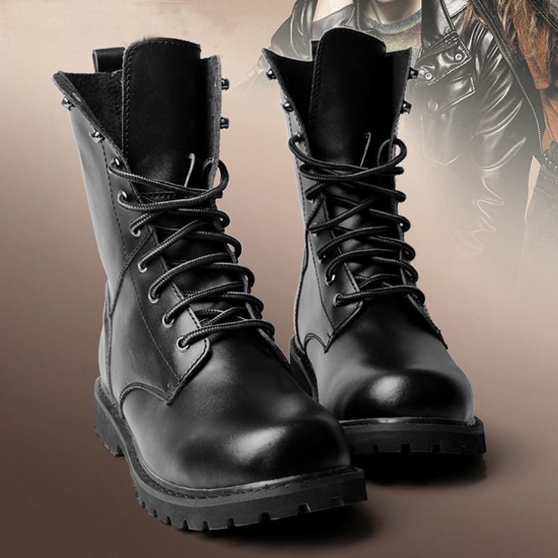 Big size men leather motorcycle boots mid calf military army autumn winter black men boots 2016