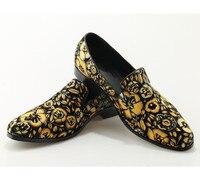 2018 Горячая весенне осенняя обувь мужские лоферы с принтом; удобные повседневные туфли на плоской подошве под платье Вечерние Мужская обувь
