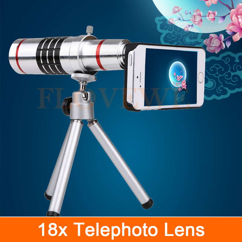 imágenes para HD 18x Zoom Óptico Telescopio Lente Telefoto Teleobjetivo Para iPhone 4 4S 5 5S 6 6 s 7 Más Casos de Teléfono con Cámara Kit de Lentes Con Clips trípode