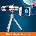 Hd 18x zoom óptico telescopio lente telefoto teleobjetivo para iphone 4 4s 5 5S 6 6 s 7 plus kit de lentes de cámara del teléfono casos con clips trípode