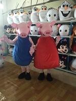 Halloween Red & Blue Cartoon pig Mascot Costumes Adult size Cartoon Costume