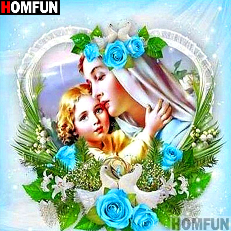 HOMFUN Full Square Round Drill 5D DIY Diamond Painting quot Religious Jesus quot 3D Embroidery Cross Stitch 5D Decor Gift A14393 in Diamond Painting Cross Stitch from Home amp Garden