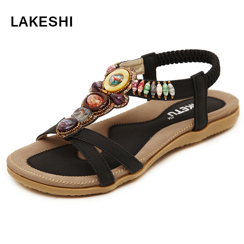 Beaded Women Sandals Flat Summer Shoes Fashion Beach Sandals Ladies Shoes Black 2016 fashion summer women flat beaded bohemia ppen toe flat heel sweet women students beach sandals o643