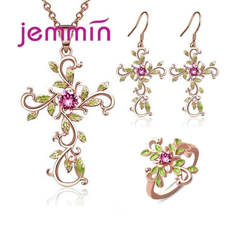 Moda encantadora flor folhas forma conjunto de jóias para mulheres meninas pingente de prata colar hoop brincos anéis