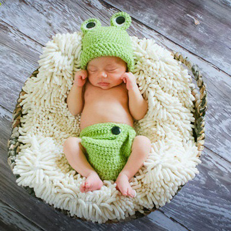 2pcs Hat +pants Lovely Animal Frog Clothes Baby Set Winter Warm Toddlers Handmade Newborn Infant Photography Girls Props